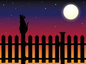 Cat sitting on picket fence post in moonlight vector illustration