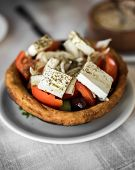 Greek Salad With Tomatoes, Feta, Onions And Olives