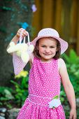 Portrait Of Little Girl In A Spring Outfit