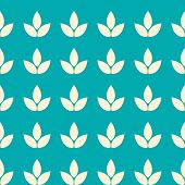 Seamless Wallpaper Pattern With Beige Petals On Mint Background