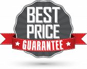 Best Price Guarantee Retro Label With Red Ribbon, Vector Illustration