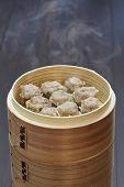 shu mai, shao mai, chinese food in bamboo steamer