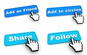 Social Networks Concept - Web Buttons with Hand Cursor.