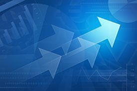 stock photo of arrow  - Arrow on financial graph and chart for business background blue tone - JPG