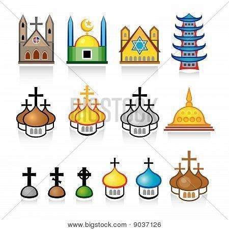Постер, плакат: Религиозные храмы и места поклонения, холст на подрамнике