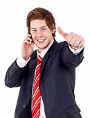 Man Being Positive On Phone