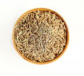 foto of cumin  - Cumin in wooden bowl - JPG