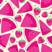 stock photo of watermelon slices  - Seamless pattern with watermelon slices and  strawberries  in cartoon style - JPG