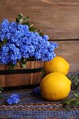 picture of blue-bell  - Blue bell flowers with lemon on wooden background - JPG