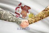 pic of illinois  - Soldiers handshake and US state flag  - JPG