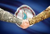 foto of virginia  - Soldiers handshake and US state flag  - JPG