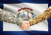 image of virginia  - Soldiers handshake and US state flag  - JPG