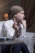 picture of leukemia  - Portrait of elegant woman smoking a cigarette - JPG