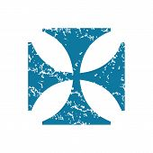 picture of maltese  - Grunge blue icon with image of maltese cross - JPG