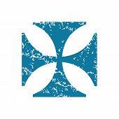 stock photo of maltese  - Grunge blue icon with image of maltese cross - JPG