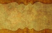 picture of bottom  - Old worn and yellowed grunge paper background texture with top and bottom graphic border - JPG