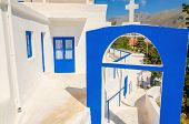 pic of greek  - A view of a Greek church with iconic blue colors on Greek island - JPG