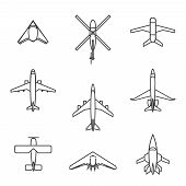 image of fighter plane  - Vector line aircraft set - JPG