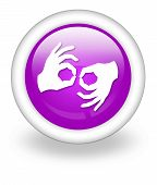 image of nonverbal  - Icon Button Pictogram with Sign Language symbol - JPG