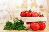 picture of crate  - Tomatoes and dill in crate on table in chicken - JPG