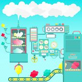 stock photo of sugar industry  - Creative And imaginative cotton candy factory made of clouds - JPG