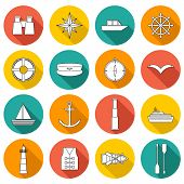 pic of life-boat  - Set of  flat boating icons for your design - JPG