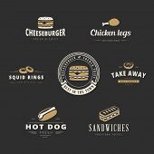 stock photo of chicken  - Fast food Retro Vintage Labels as Logo design vector template set.  Fast Food: Hot dog, Burger, Chicken legs, Donut, Sandwich Logotype icons. - JPG