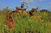 foto of junk-yard  - A very old tractor withers is parked in the long grass and yellow wild flowers in a salvage yard - JPG