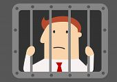 picture of jail  - Cartoon businessman prisoner in jail peering through the bars with a glum face for white collar crime - JPG