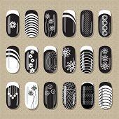 stock photo of pedicure  - Nail design black and white - JPG