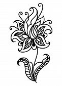 image of dainty  - Dainty outline black floral motif isolated on white background for textile - JPG