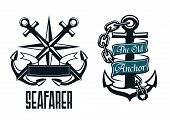 picture of navy anchor  - Seafarer marine heraldic emblem and symbol with ship anchors - JPG