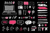 image of blog icon  - Set of chalk doodle graphic elements for blog and graphic projects isolated vector objects icons frames dividers - JPG