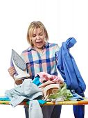 picture of homework  - The woman in stress from homework isolated - JPG