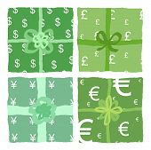 stock photo of yen  - Green present boxes with wrapping paper decorated in dollars - JPG