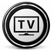 image of televisor  - illustration of television black and silver icon - JPG