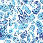 pic of indigo  - Seamless ethnic background in indigo shadows with eastern ornaments  - JPG