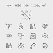 Постер, плакат: Medicine thin line icon set for web and mobile Set includes molecule medicine doctor stethoscop