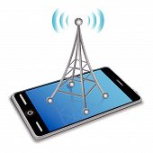 picture of antenna  - 3D communication antenna and smart phone on a white background - JPG