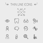 pic of healing hands  - Medicine thin line icon set for web and mobile - JPG