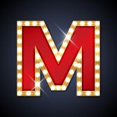 picture of letter m  - Vector illustration of realistic retro signboard letter M - JPG