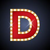 picture of letter  - Vector illustration of realistic retro signboard letter D - JPG