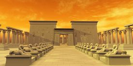 picture of godly  - The ancient Egyptian civilization erected many temples to worship their gods - JPG