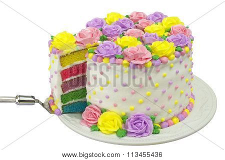 Pastel buttercream frosting rose flower cake rainbow layers sliced pastel buttercream frosting rose flower cake rainbow layers sliced isolated poster mightylinksfo