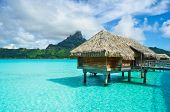 Thatched Roof Honeymoon Bungalow On Bora Bora poster