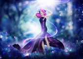 Постер, плакат: Beautiful Fantasy Fairy Woman Fashion Art Beauty Portrait Beautiful Girl in Fantasy Mystical and M