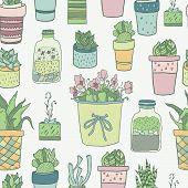 Постер, плакат: aloe art background blossom botanical botany cacti cactus cartoon collection cute decorat