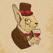 Постер, плакат: Dressed Squirrel With Glass of Wine And Top Hat