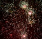 Постер, плакат: Golden orange amazing fireworks background fireworks festival fireworks in Venice fireworks explo