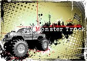stock photo of monster-truck  - monster truck on the grungy background in the vectors - JPG